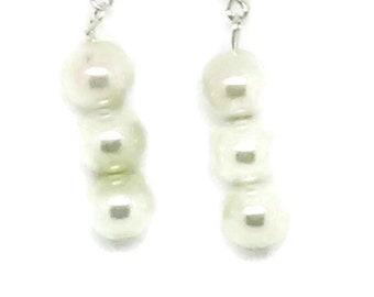 Ivory Triple Glass Pearl Earrings