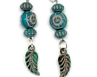 Blue Tribal Design Inspired Charm Earrings