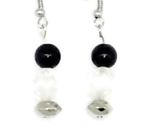 Black, Clear and Silver Beaded Earrings