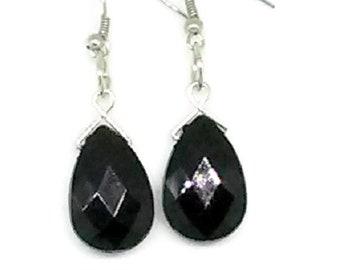 Black Briolette Beaded Earrings