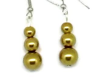 Gold Snowman Glass Pearl Beaded Earrings