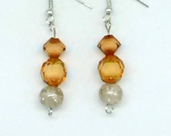 Orange and Silver Sparkle Beaded Earrings