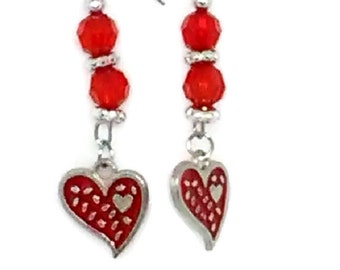 Red Heart Charm Earrings