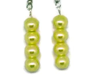 Yellow Glass Pearl Beaded Earrings