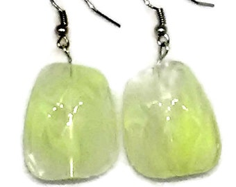 Light Yellow Smoke Irregular Square Faceted Beaded Earrings