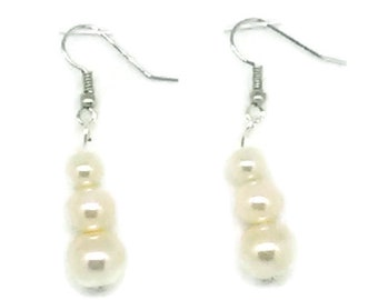 White Glass Pearl Snowman Earrings