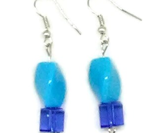 Blue Twisted Triangle with Square Bead Earrings