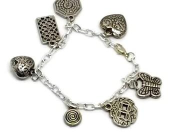 Funky Shape Silvertone Charm Bracelet