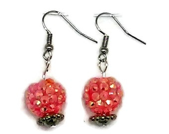 Pink Snowball Earrings