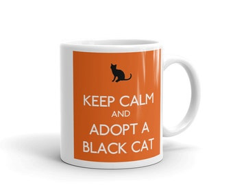 Keep Calm and Adopt A Black Cat on Orange Pet Lovers Mug