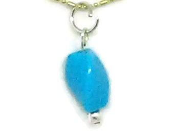 Blue Twisted Triangle Bead Pendant Necklace