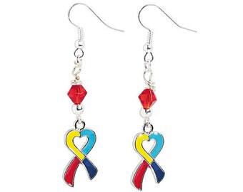 Heart-Shaped Multi-Colored Ribbon Earrings