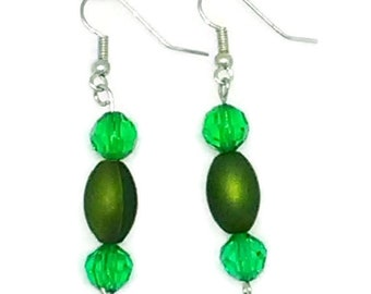 Green Barrel Bead with Green Faceted Round Beads Earrings