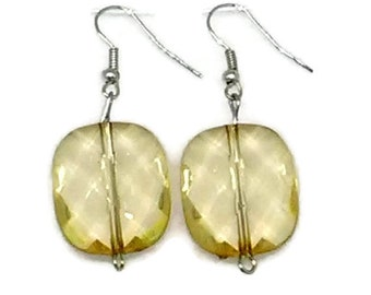 Yellow Rounded Square Beaded Earrings