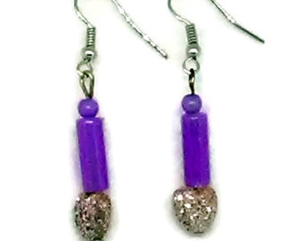Purple Tube and Sparkle Heart Girls Earrings