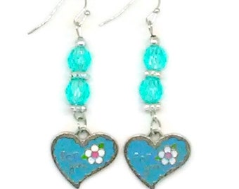 Blue For You Heart Charm Valentines Earrings