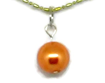 Orange Glass Pearl Charm Necklace