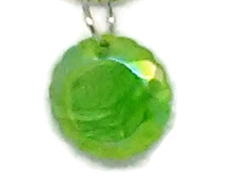 Green Flat Faceted Round Pendant