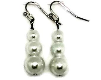 Ivory Triple Glass Pearl Beaded Earrings