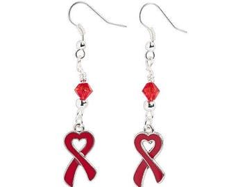 Heart-Shaped Red Ribbon Earrings