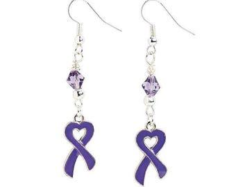 Heart-Shaped Purple Ribbon Earrings