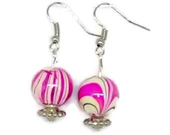 Pink Marbled Earrings
