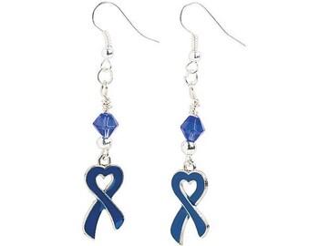 Heart-Shaped Blue Ribbon Earrings