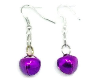 Purple Mardi Gras Jingle Bell Earrings