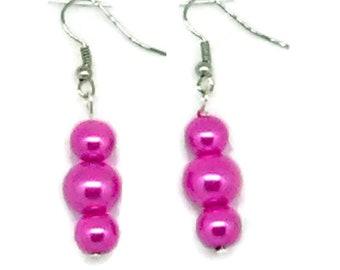 Dark Pink Triple Bead Glass Pearl Earrings