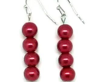 Dark Red Glass Pearl Beaded Earrings