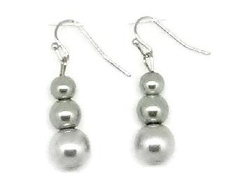 Gray Triple Glass Pearl Beaded Earrings