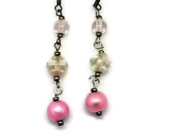 Pink Triple Bead Earrings
