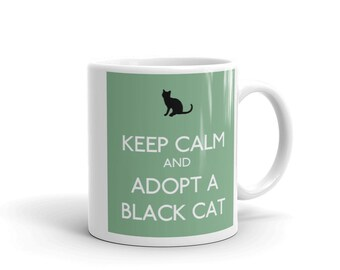 Keep Calm And Adopt A Black Cat on Mint Pet Lovers Mug