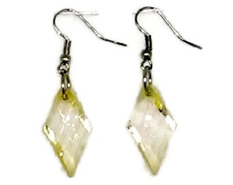 Light Yellow Twisted Facted Diamond Beaded Earrings