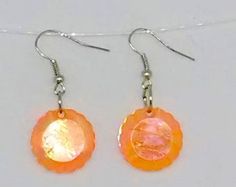 Orange Flat Faceted Round Charm Earrings
