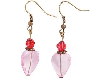Vintage Crystal Heart Earrings