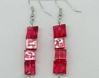 Red Cube and Puffed Square Beaded Earrings
