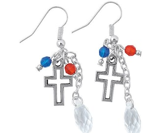 Patriotic Cross Earrings