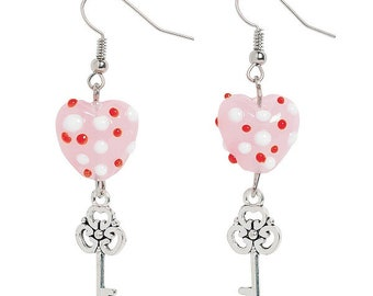 Heart and Key Earrings