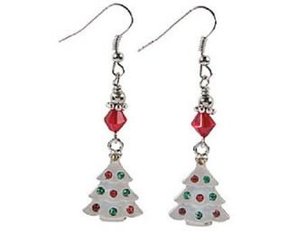 Rhinestone Christmas Tree Earrings