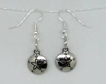 Silvertone Sand Dollar Charm Earrings