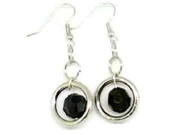 Black Faceted Round in Silver Rings Earrings