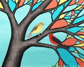 scarlet tanagers in the stained glass tree - signed print 8X10 inches by Sarah Knight, red yellow black birds branches bark brown aqua blue