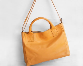 Crossbody Tote in Apricot yellow