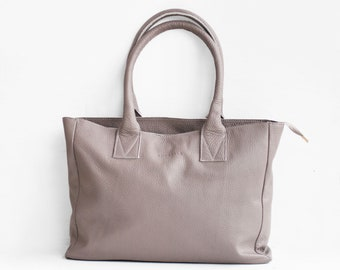 Leather Shopper in Taupe, Gray Leather Tote, Shoulder Bag, Taupe Leather Bag, Leather Bag, Gray Leather Handbag, Morelle Bag, Morelle Totes