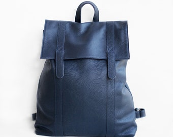 Leather Backpack in Dark Blue / Leather Backpack / Leather Bag / Blue Leather Bag / Big Backpack / Blue Backpack / Unisex backpack