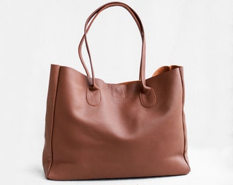 SALE Leather Shopper in Sienna Brown, Leather Tote Bag, Soft Leather Bag, Brown Leather Bag, Leather Shopper, Leather Bag, Leather Handbag,