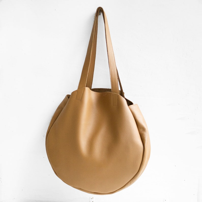 Camel leather round tote bag   Camel Bag   Brown Tote Bag