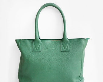 Leather Shopper in Green, Leather Tote,  Green Shoulder Bag, Green Leather Bag, Leather Bag, Leather Handbag, Morelle Bag, Green Shopper Bag