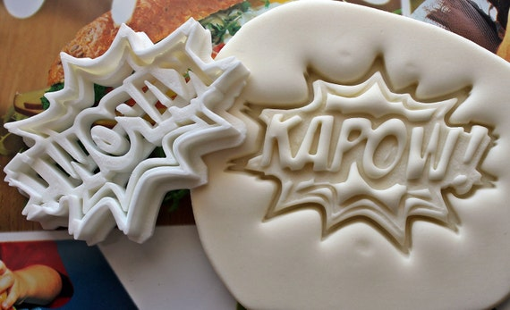 KAPOW Comic Books Cookie Cutter  Made From Biodegradable Material  Brand New  Party Favor  Kids Birthday  Baby Shower  Cake Topper
